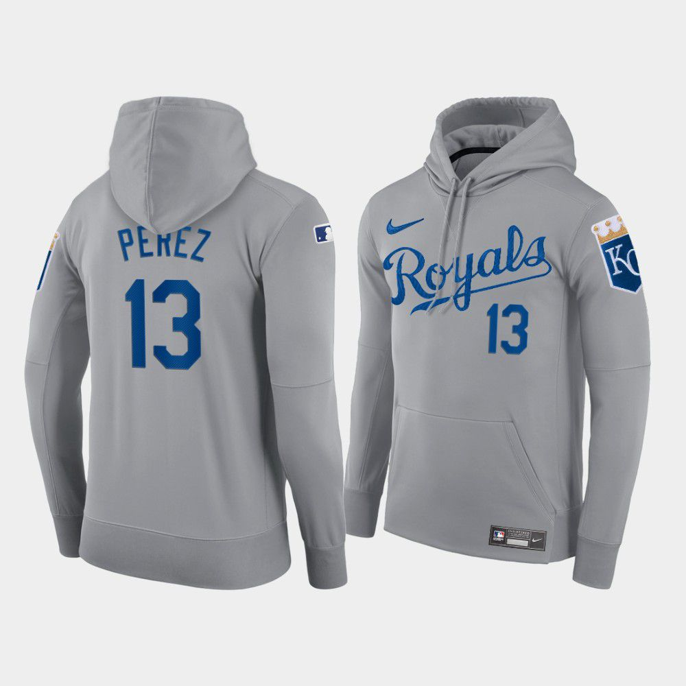 Wholesale Men Kansas City Royals 13 Perez gray hoodie 2021 MLB Nike Jerseys