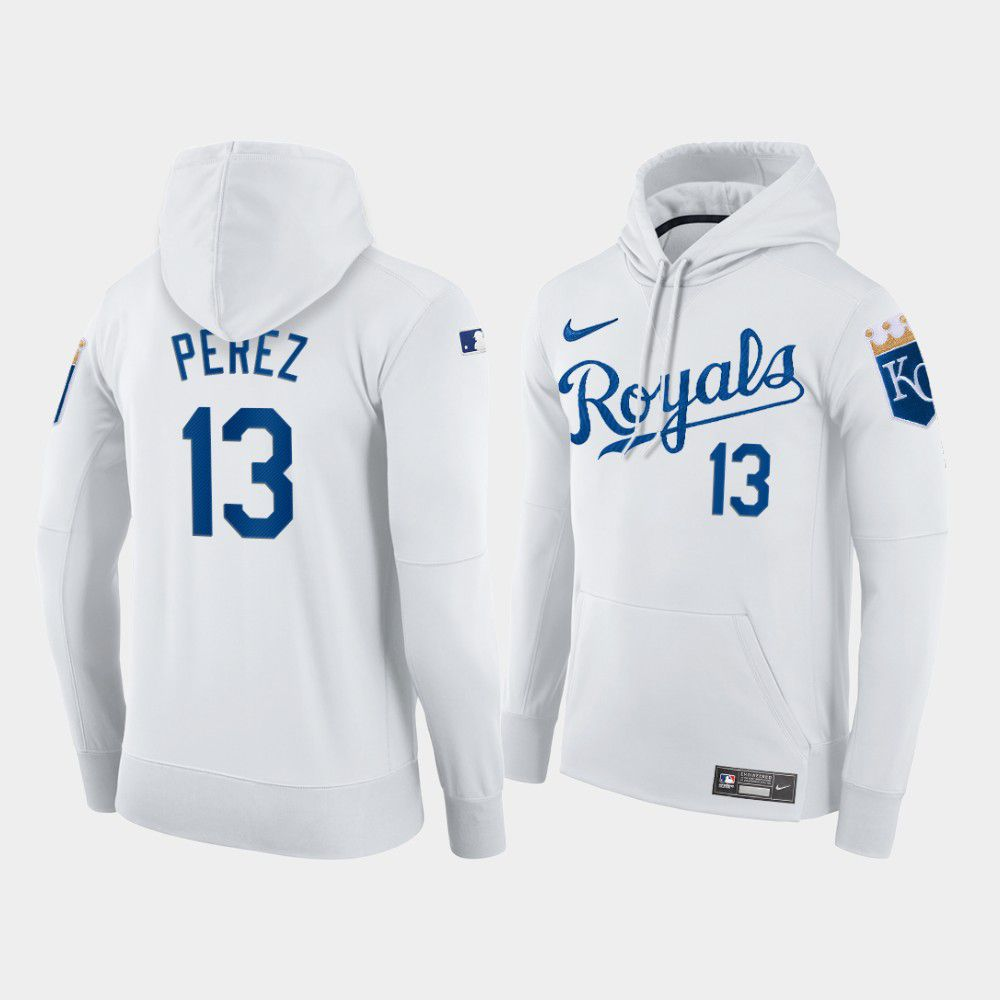 Wholesale Men Kansas City Royals 13 Perez white home hoodie 2021 MLB Nike Jerseys