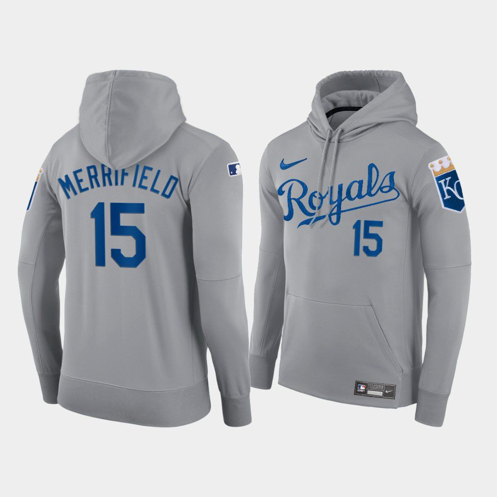 Wholesale Men Kansas City Royals 15 Merrifield gray hoodie 2021 MLB Nike Jerseys
