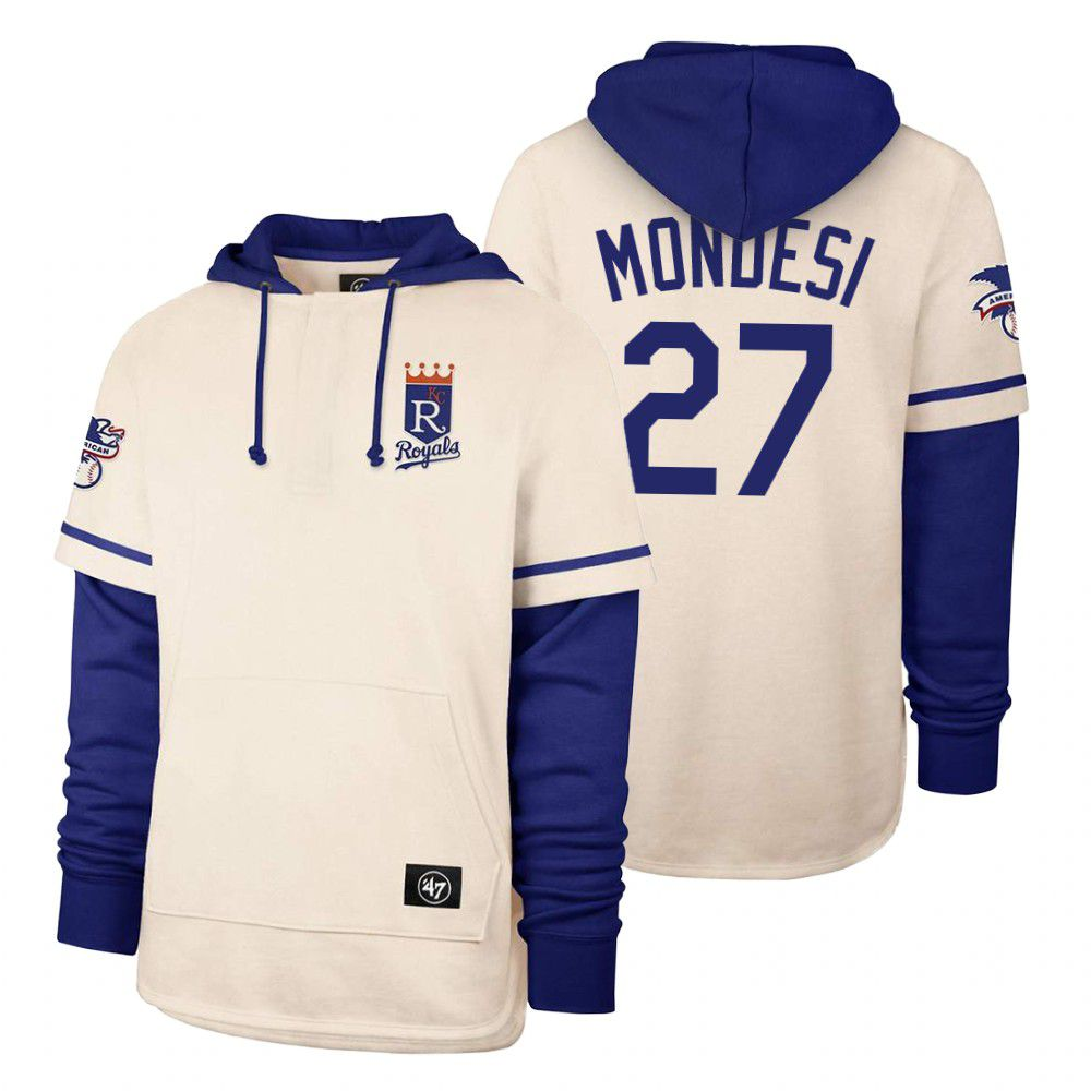 Wholesale Men Kansas City Royals 27 Mondesi Cream 2021 Pullover Hoodie MLB Jersey