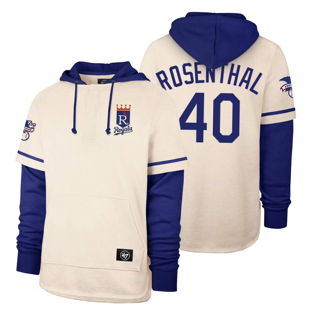 Wholesale Men Kansas City Royals 40 Rosenthal Cream 2021 Pullover Hoodie MLB Jersey