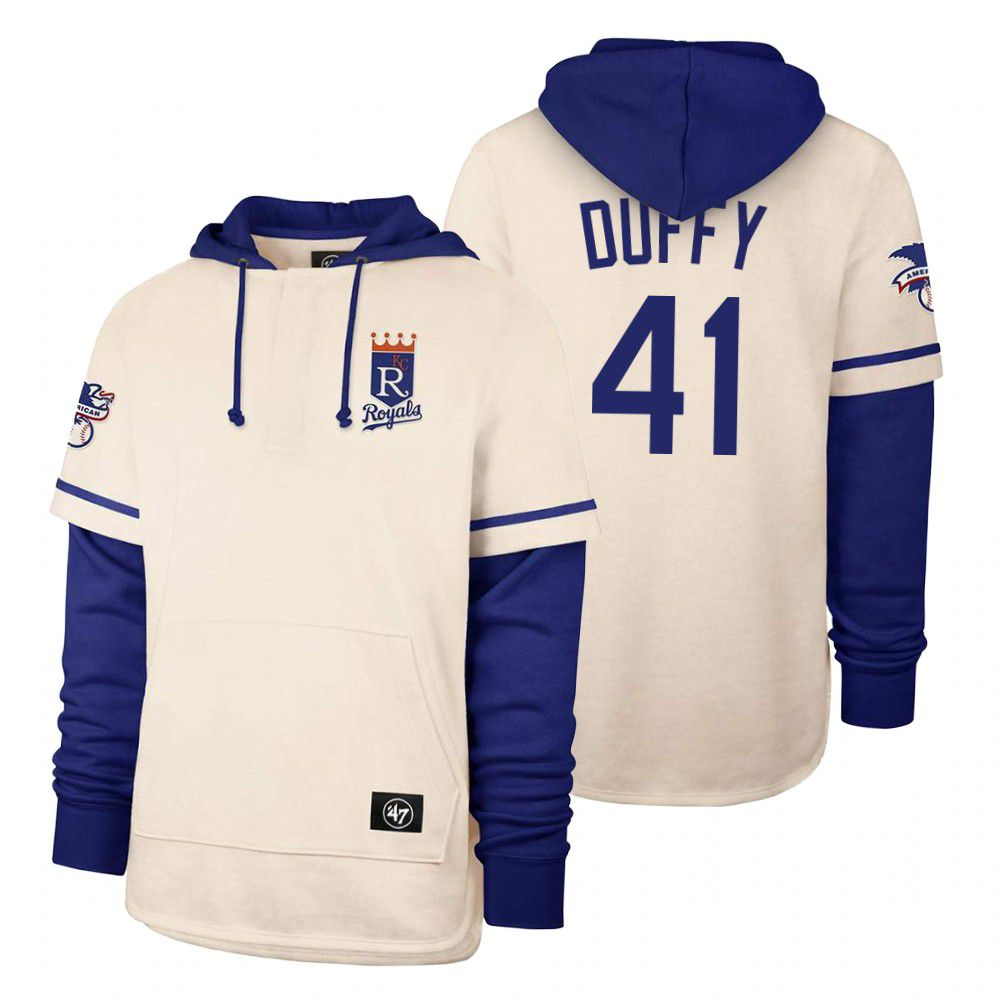 Wholesale Men Kansas City Royals 41 Duffy Cream 2021 Pullover Hoodie MLB Jersey