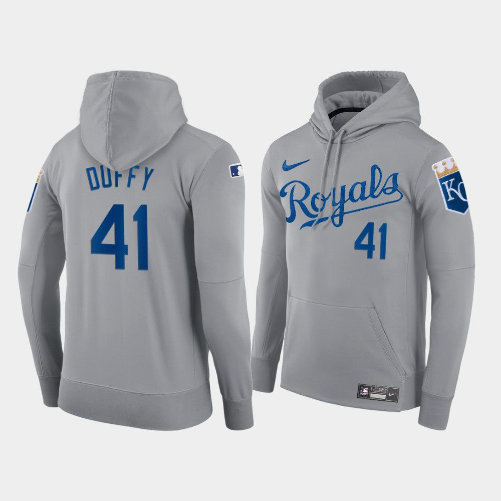 Wholesale Men Kansas City Royals 41 Duffy gray hoodie 2021 MLB Nike Jerseys