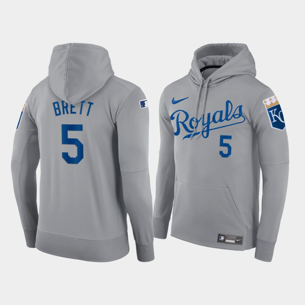 Wholesale Men Kansas City Royals 5 Brett gray hoodie 2021 MLB Nike Jerseys