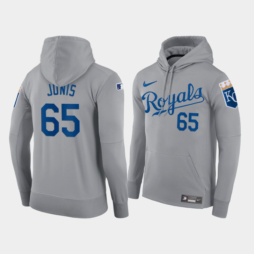 Wholesale Men Kansas City Royals 65 Junis gray hoodie 2021 MLB Nike Jerseys