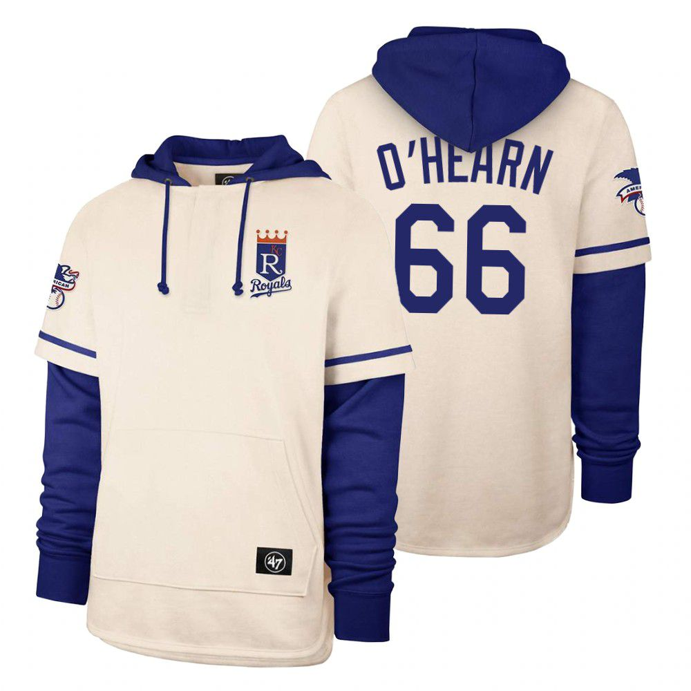 Wholesale Men Kansas City Royals 66 Ohearn Cream 2021 Pullover Hoodie MLB Jersey