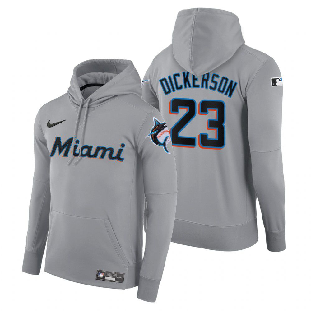Cheap Men Miami Marlins 23 Dickerson gray road hoodie 2021 MLB Nike Jerseys
