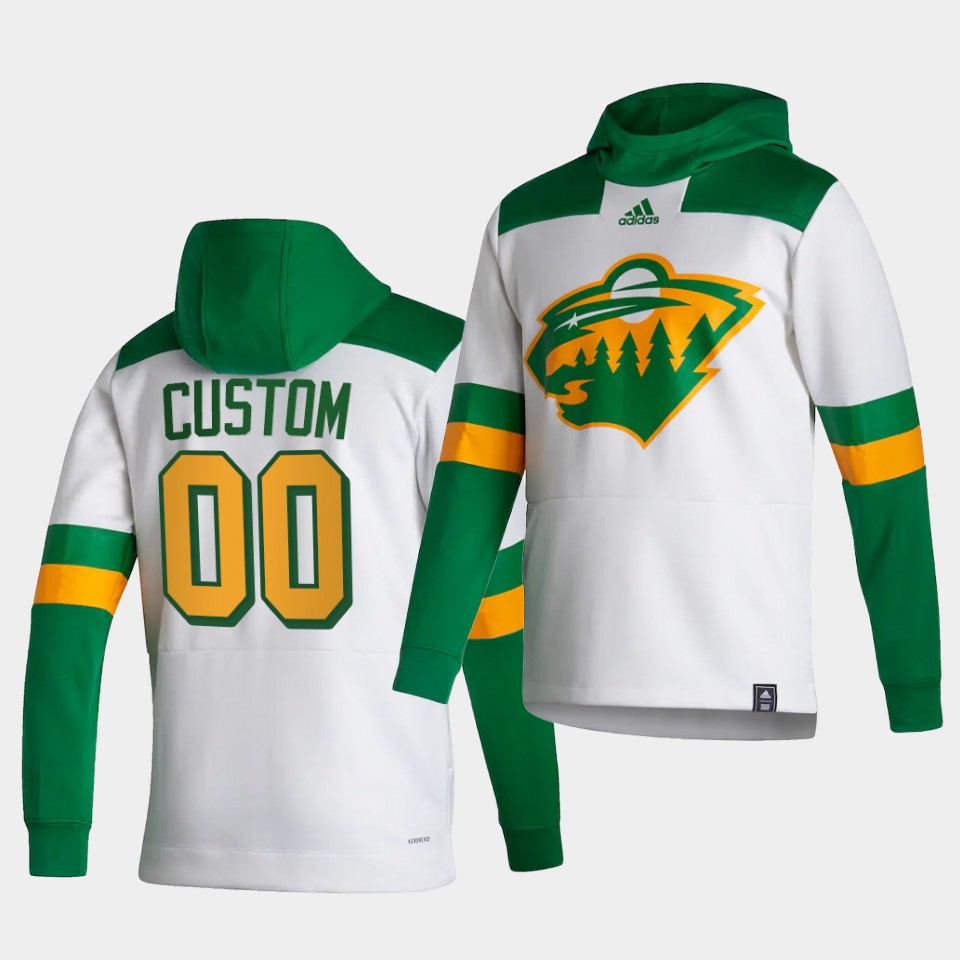 Wholesale Men Minnesota Wild 00 Custom White NHL 2021 Adidas Pullover Hoodie Jersey