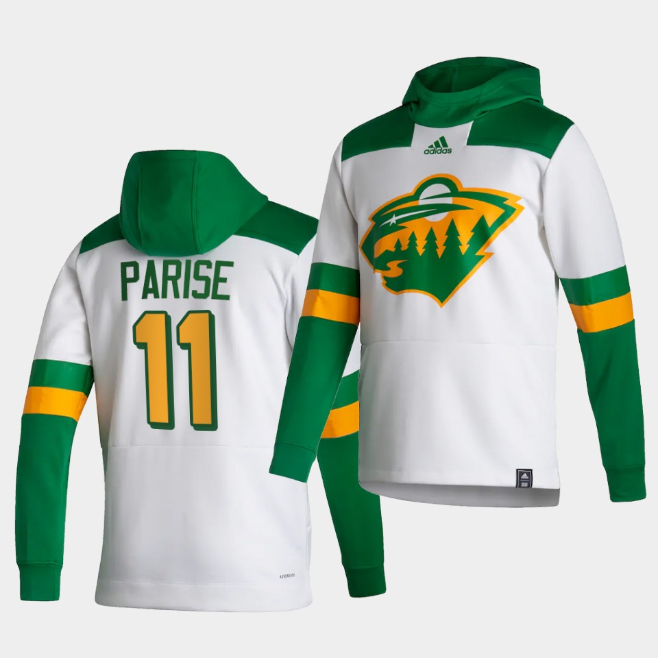 Wholesale Men Minnesota Wild 11 Parise White NHL 2021 Adidas Pullover Hoodie Jersey