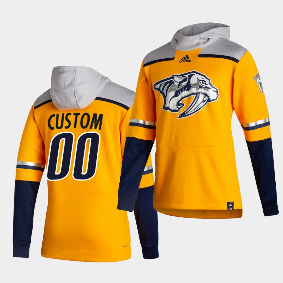 Cheap Men Nashville Predators 00 Custom Yellow NHL 2021 Adidas Pullover Hoodie Jersey