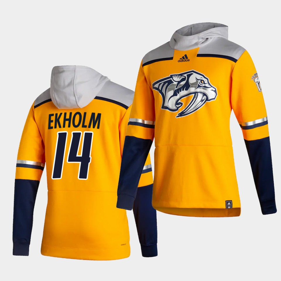 Cheap Men Nashville Predators 14 Ekholm Yellow NHL 2021 Adidas Pullover Hoodie Jersey