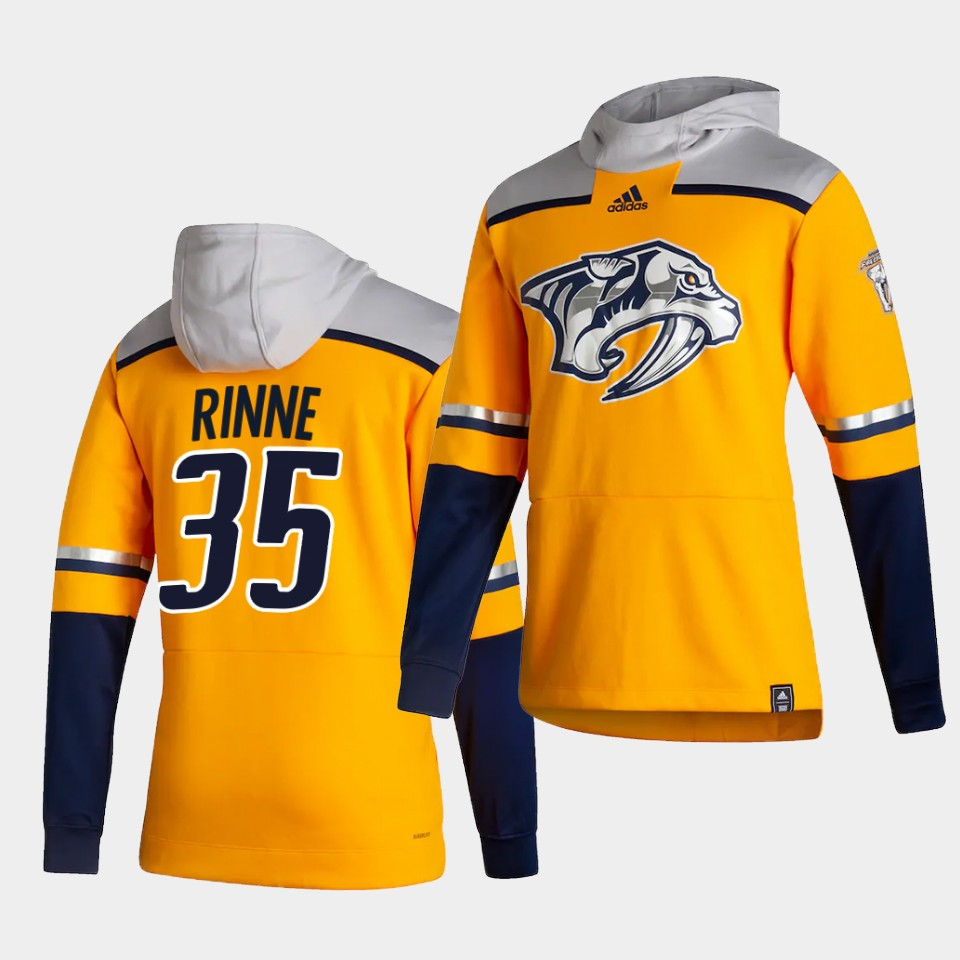 Cheap Men Nashville Predators 35 Rinne Yellow NHL 2021 Adidas Pullover Hoodie Jersey