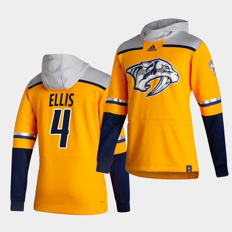 Cheap Men Nashville Predators 4 Ellis Yellow NHL 2021 Adidas Pullover Hoodie Jersey
