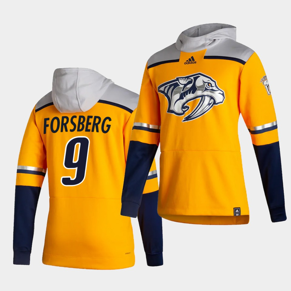 Cheap Men Nashville Predators 9 Forsberg Yellow NHL 2021 Adidas Pullover Hoodie Jersey