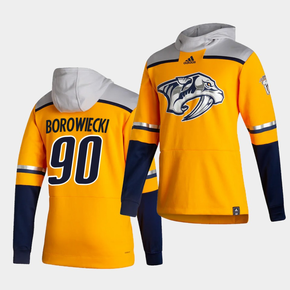 Cheap Men Nashville Predators 90 Borowiecki Yellow NHL 2021 Adidas Pullover Hoodie Jersey