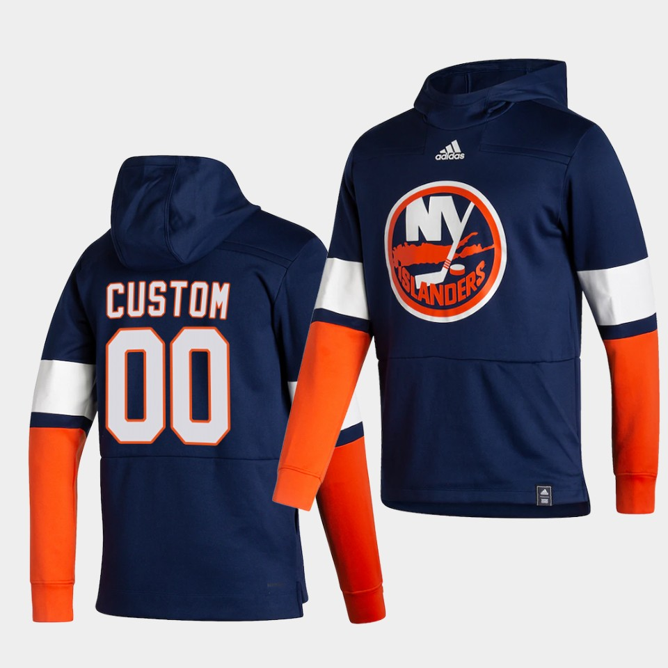Wholesale Men New York Islanders 00 Custom Blue NHL 2021 Adidas Pullover Hoodie Jersey