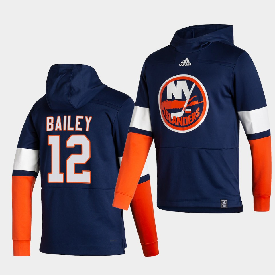Wholesale Men New York Islanders 12 Bailey Blue NHL 2021 Adidas Pullover Hoodie Jersey