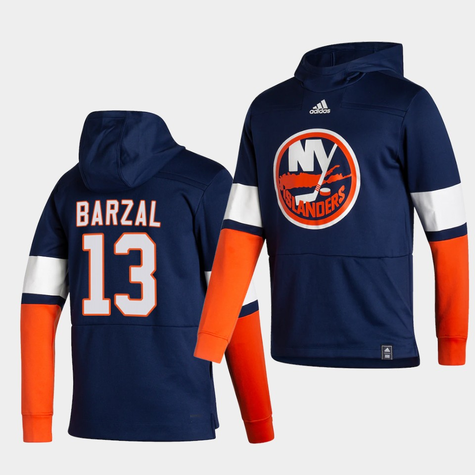 Wholesale Men New York Islanders 13 Barzal Blue NHL 2021 Adidas Pullover Hoodie Jersey