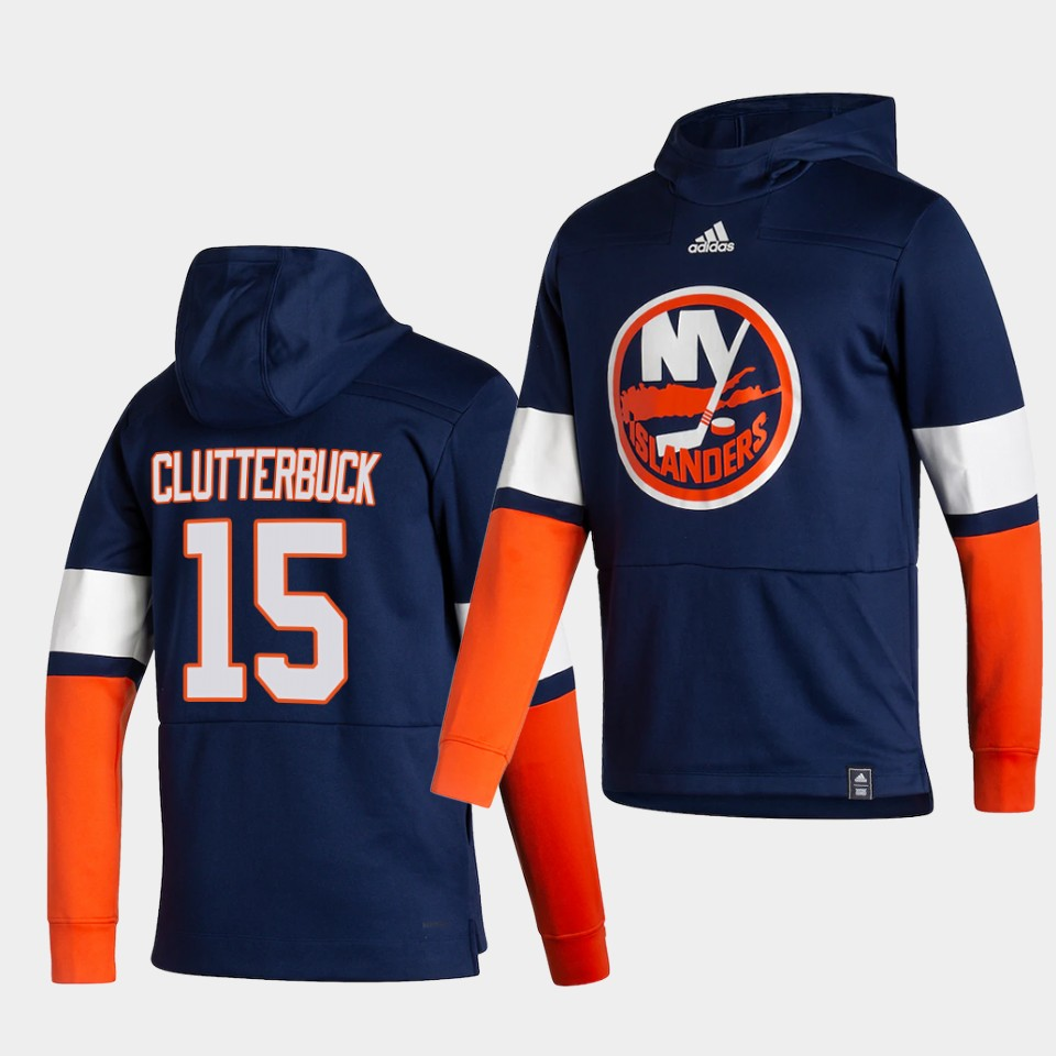 Wholesale Men New York Islanders 15 Clutterbuck Blue NHL 2021 Adidas Pullover Hoodie Jersey