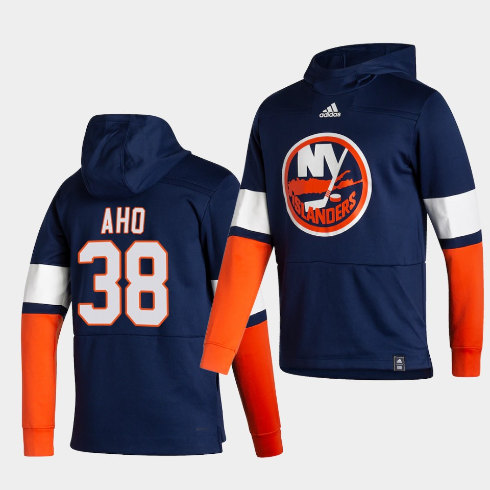 Wholesale Men New York Islanders 38 Aho Blue NHL 2021 Adidas Pullover Hoodie Jersey