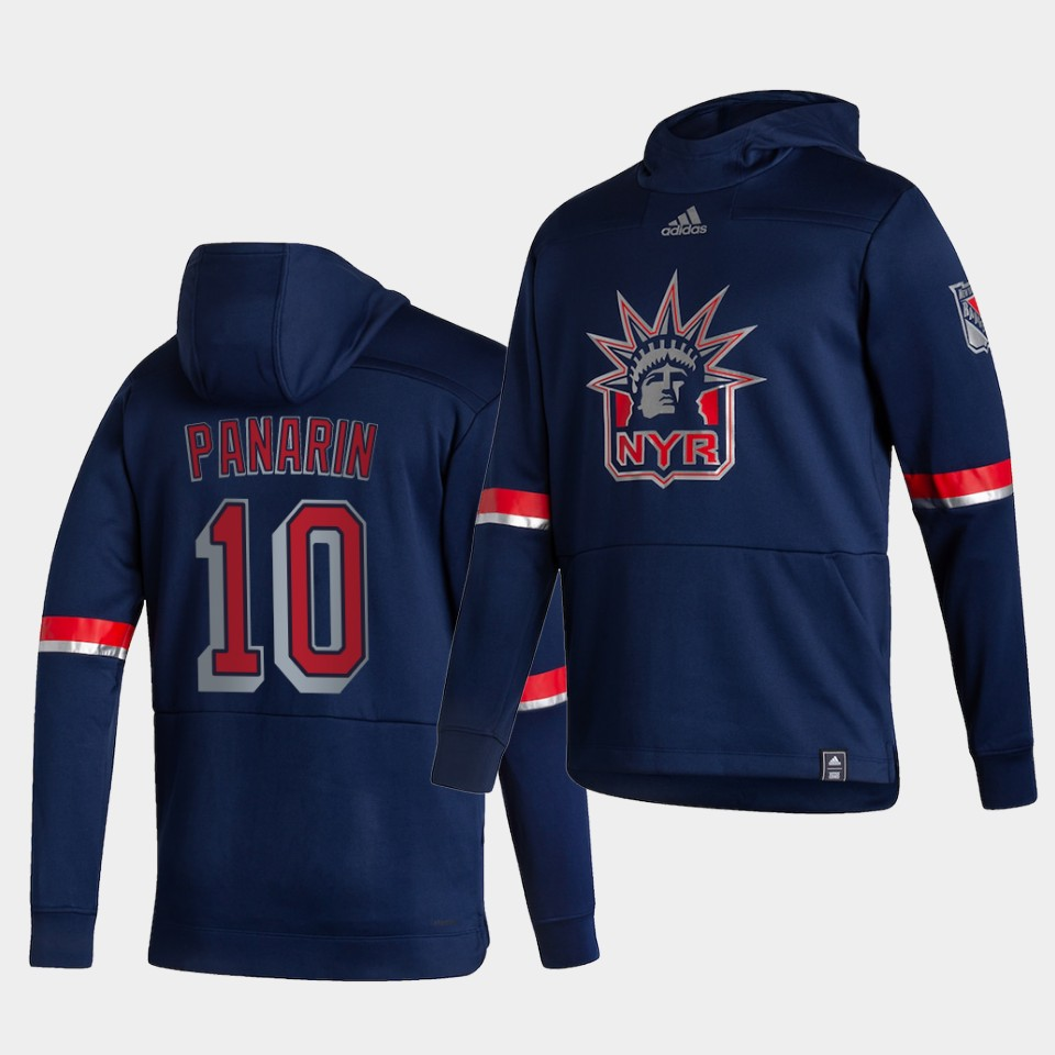 Cheap Men New York Rangers 10 Panarin Blue NHL 2021 Adidas Pullover Hoodie Jersey