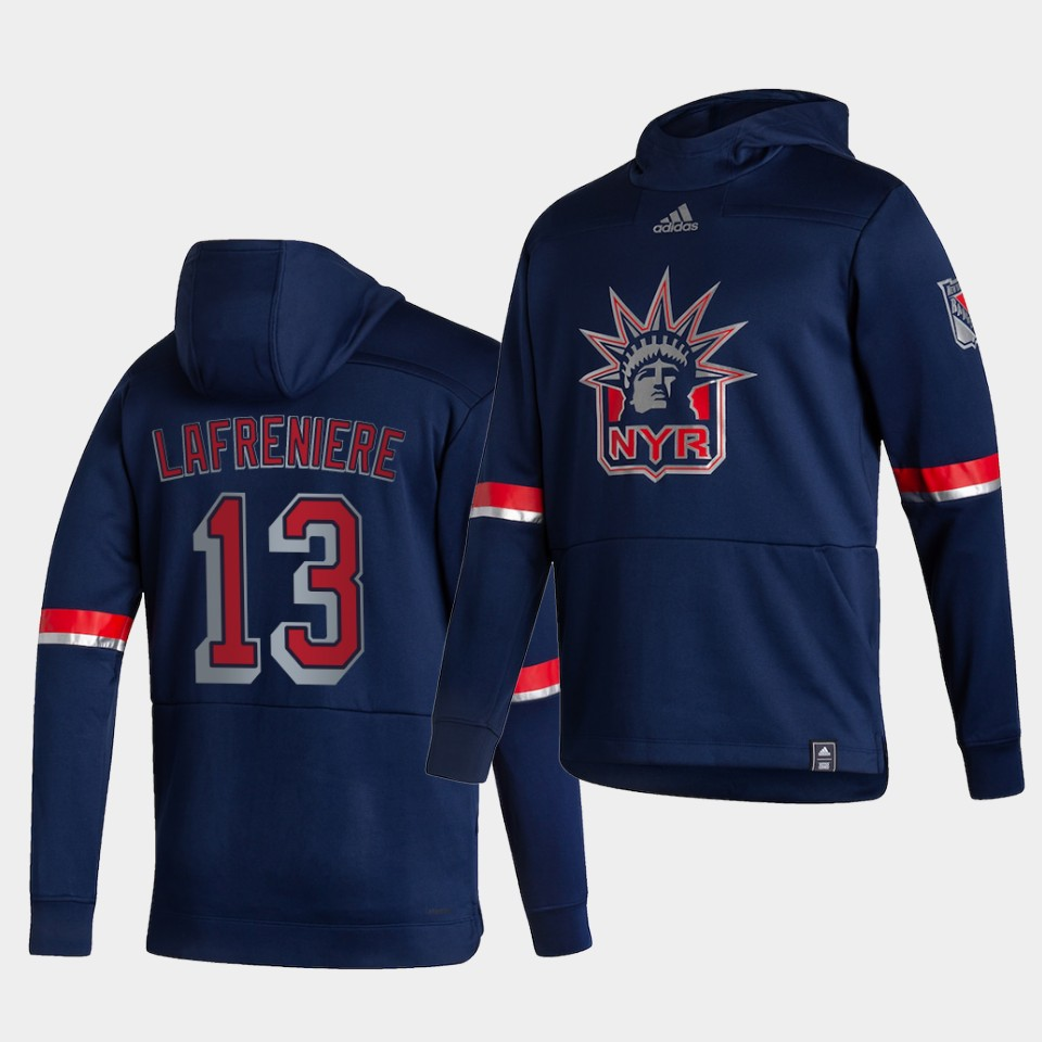 Cheap Men New York Rangers 13 Lafreniere Blue NHL 2021 Adidas Pullover Hoodie Jersey