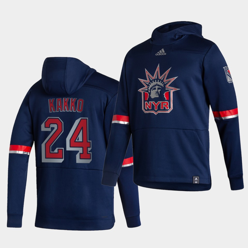 Cheap Men New York Rangers 24 Kakko Blue NHL 2021 Adidas Pullover Hoodie Jersey