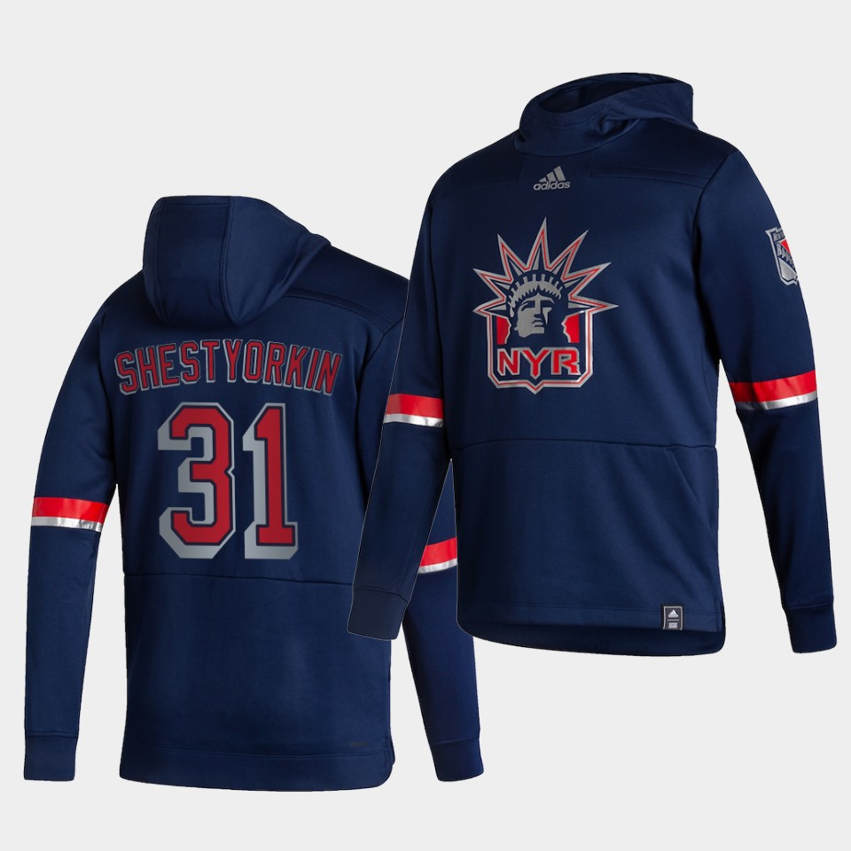 Cheap Men New York Rangers 31 Shestyorkin Blue NHL 2021 Adidas Pullover Hoodie Jersey