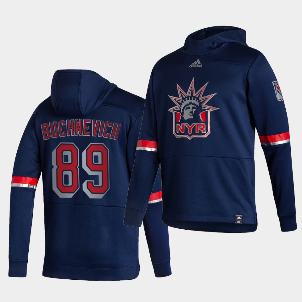 Cheap Men New York Rangers 89 Buchnevich Blue NHL 2021 Adidas Pullover Hoodie Jersey
