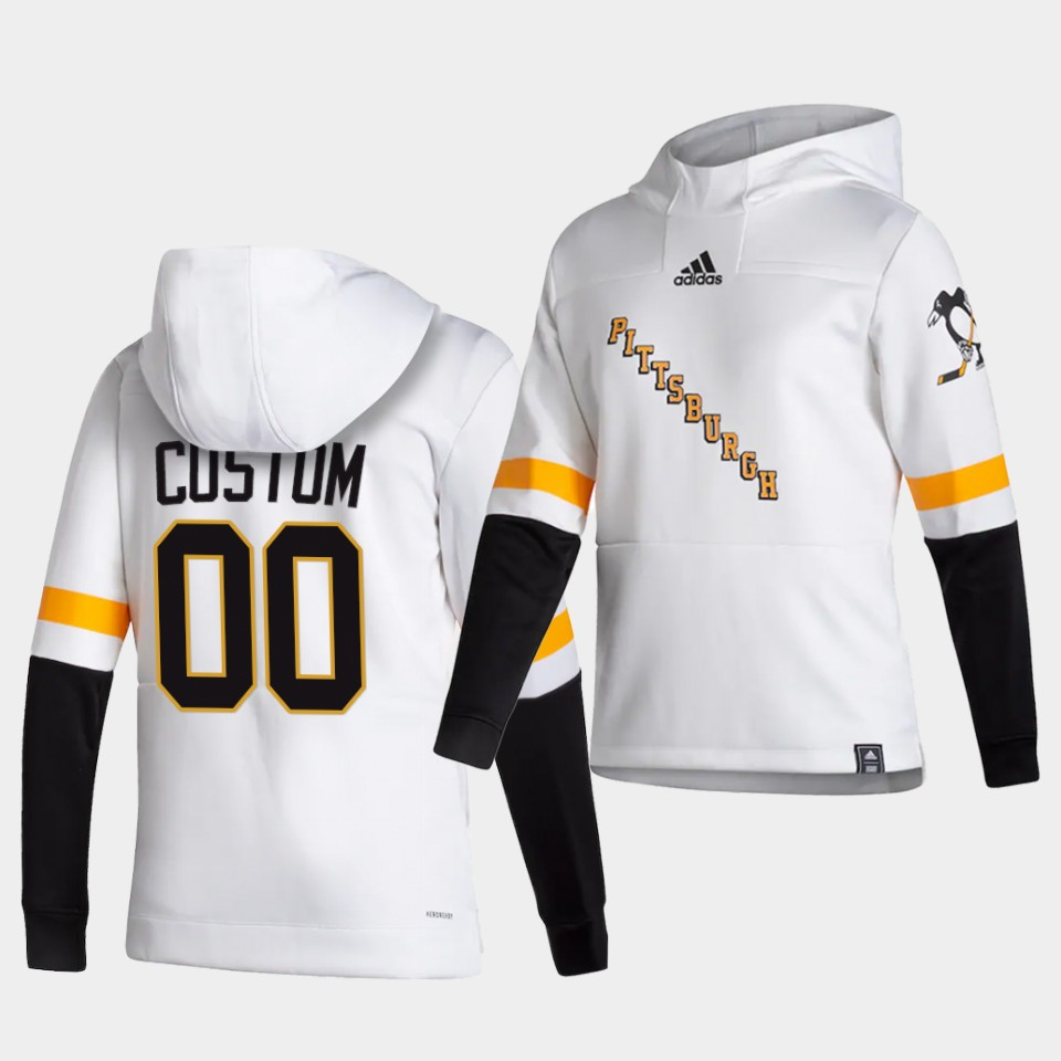Cheap Men Pittsburgh Penguins 00 Custom White NHL 2021 Adidas Pullover Hoodie Jersey