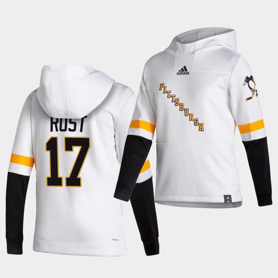 Cheap Men Pittsburgh Penguins 17 Rost White NHL 2021 Adidas Pullover Hoodie Jersey