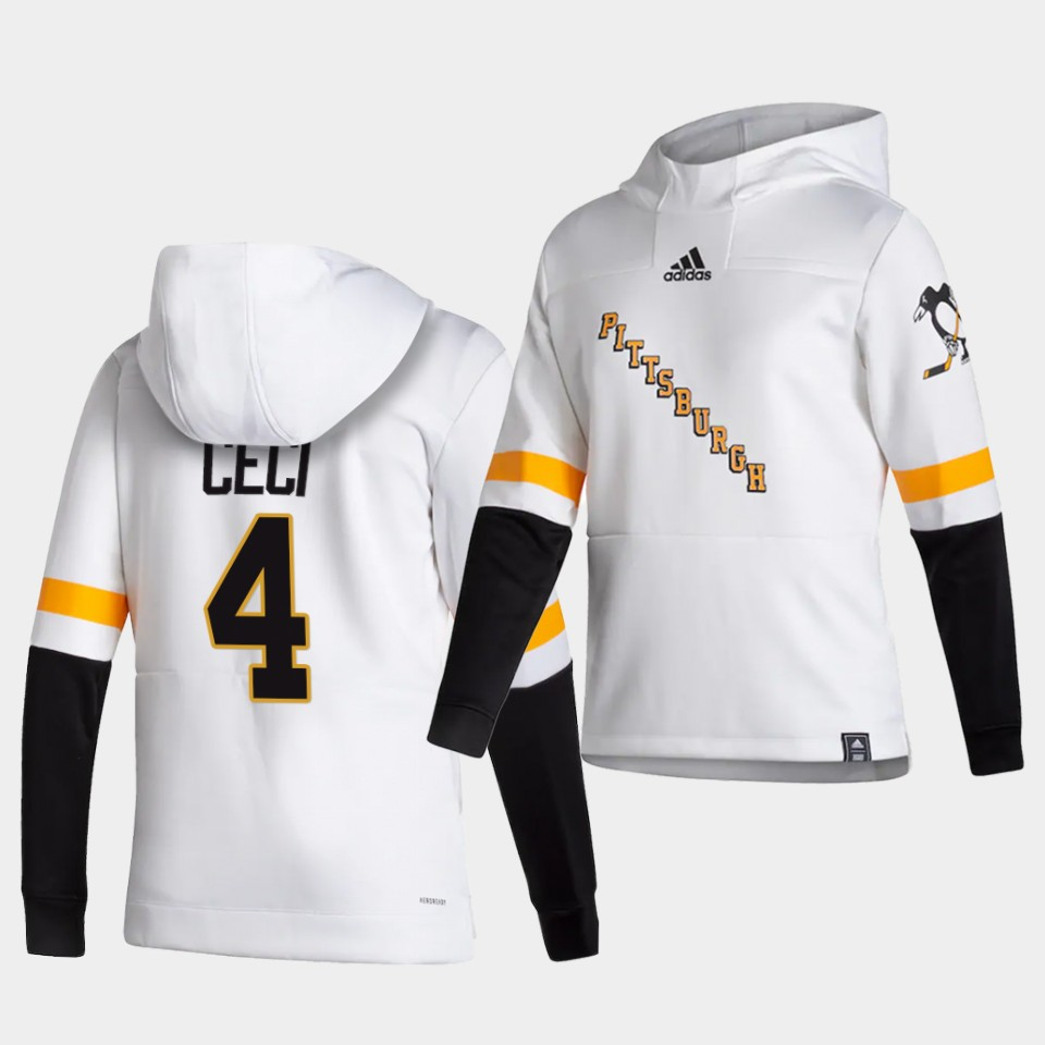 Cheap Men Pittsburgh Penguins 4 Ceci White NHL 2021 Adidas Pullover Hoodie Jersey