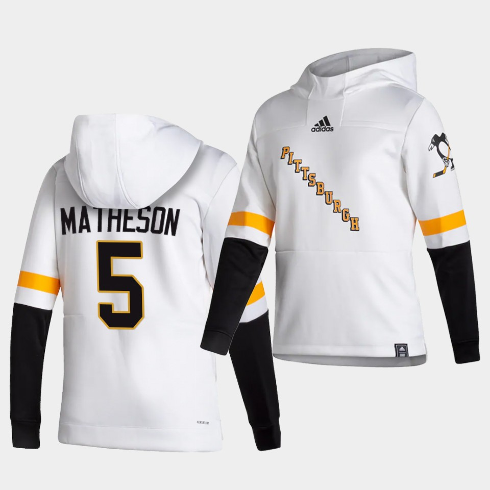 Cheap Men Pittsburgh Penguins 5 Matheson White NHL 2021 Adidas Pullover Hoodie Jersey