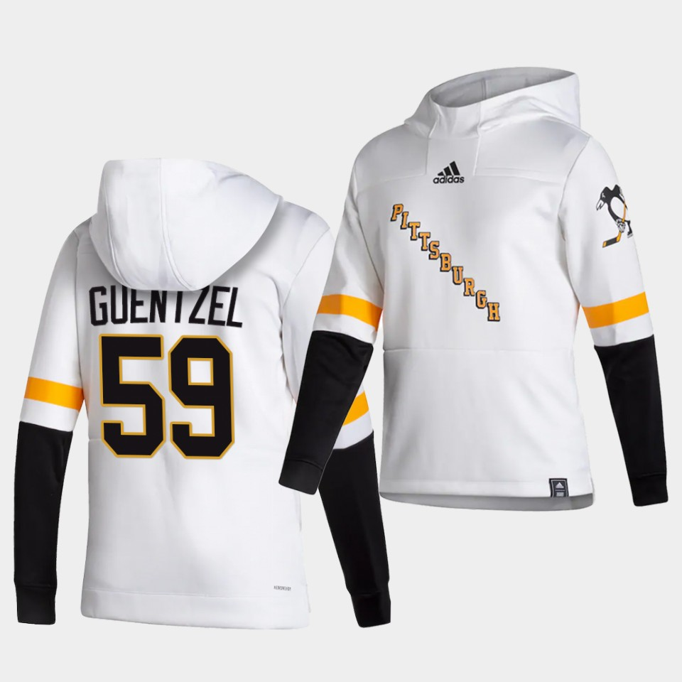 Cheap Men Pittsburgh Penguins 59 Guenizel White NHL 2021 Adidas Pullover Hoodie Jersey