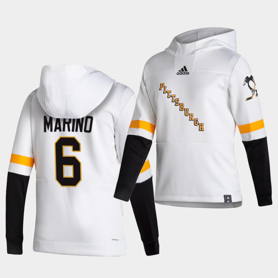 Cheap Men Pittsburgh Penguins 6 Marind White NHL 2021 Adidas Pullover Hoodie Jersey