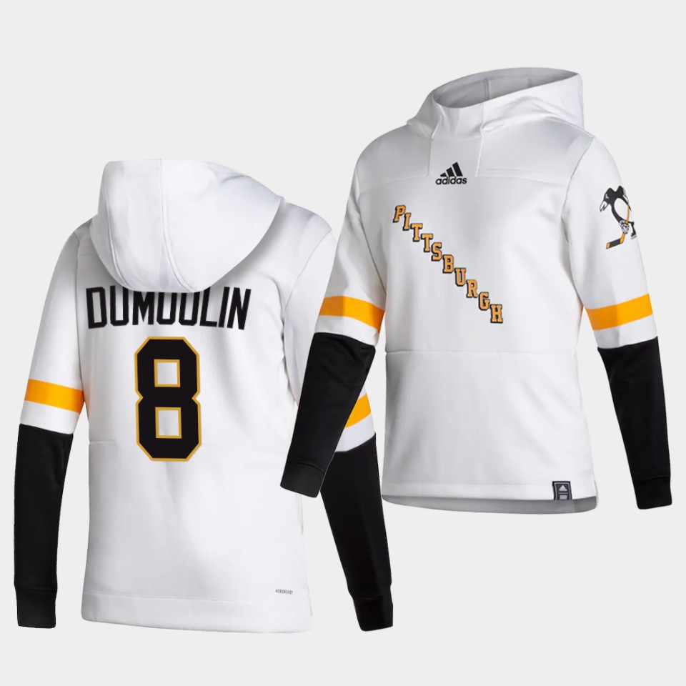 Wholesale Men Pittsburgh Penguins 8 Dumoolin White NHL 2021 Adidas Pullover Hoodie Jersey