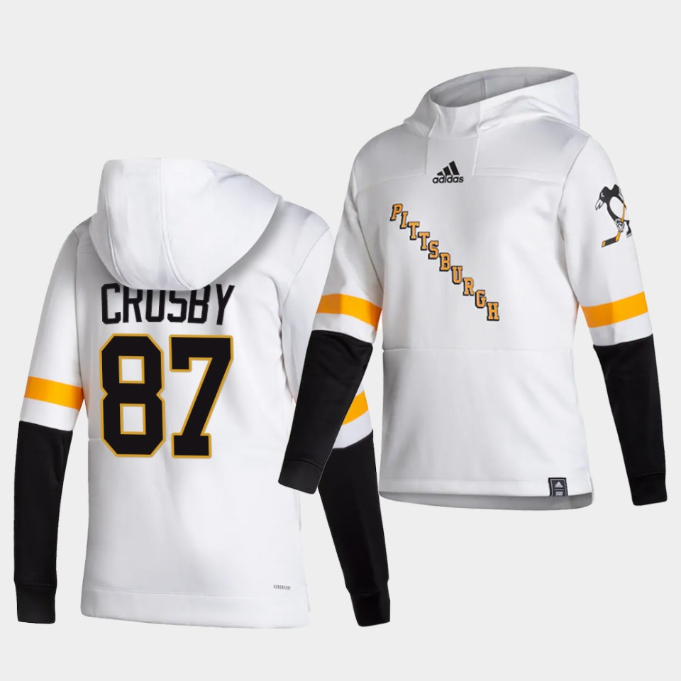 Wholesale Men Pittsburgh Penguins 87 Crosby White NHL 2021 Adidas Pullover Hoodie Jersey