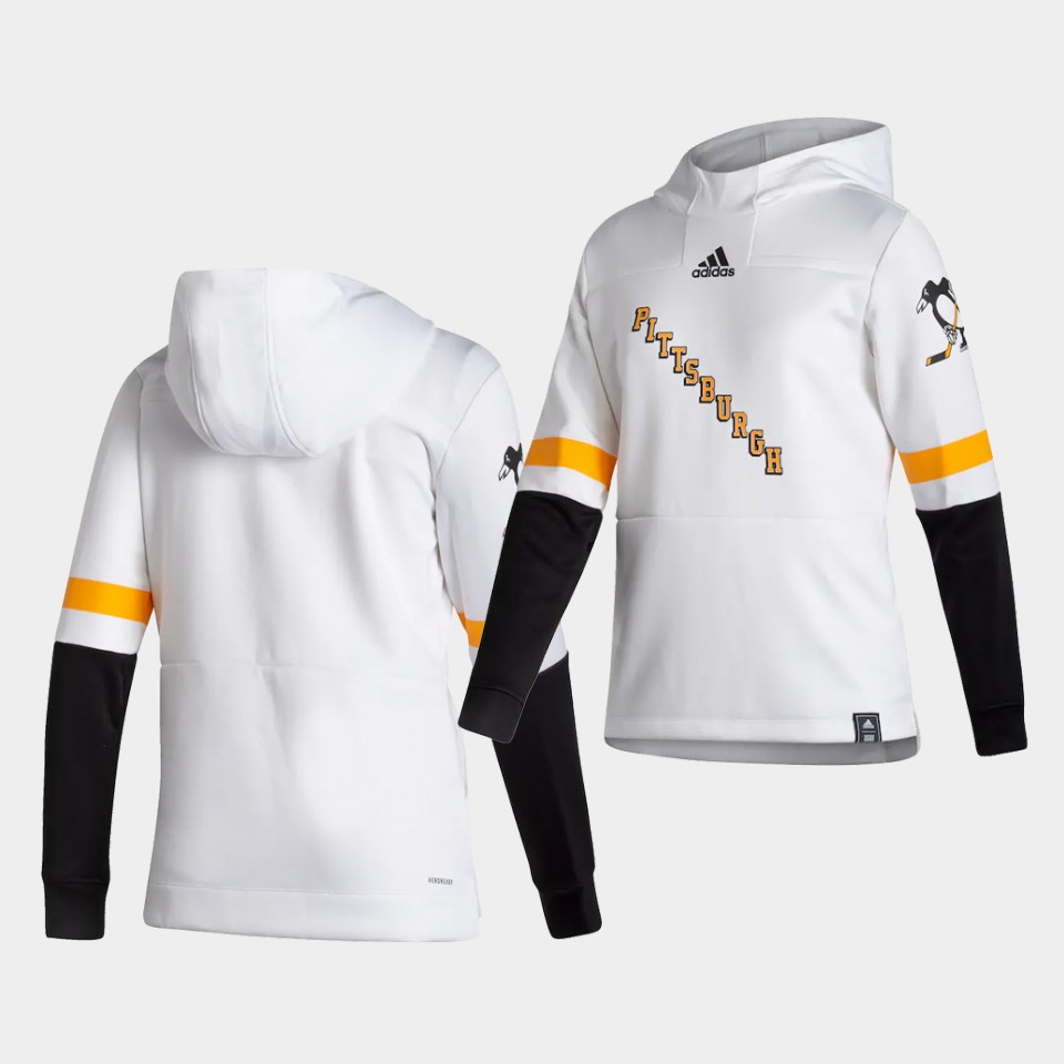 Wholesale Men Pittsburgh Penguins Blank White NHL 2021 Adidas Pullover Hoodie Jersey