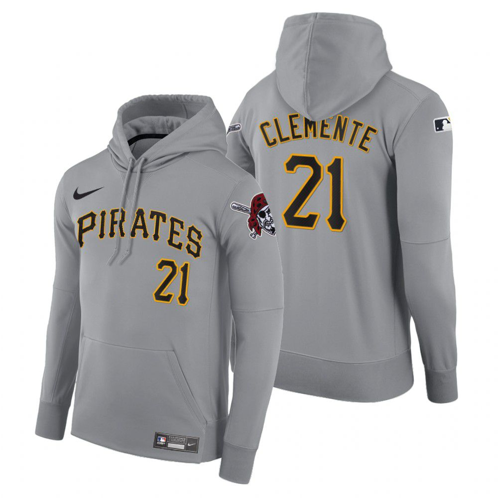 Cheap Men Pittsburgh Pirates 21 Clemente gray road hoodie 2021 MLB Nike Jerseys