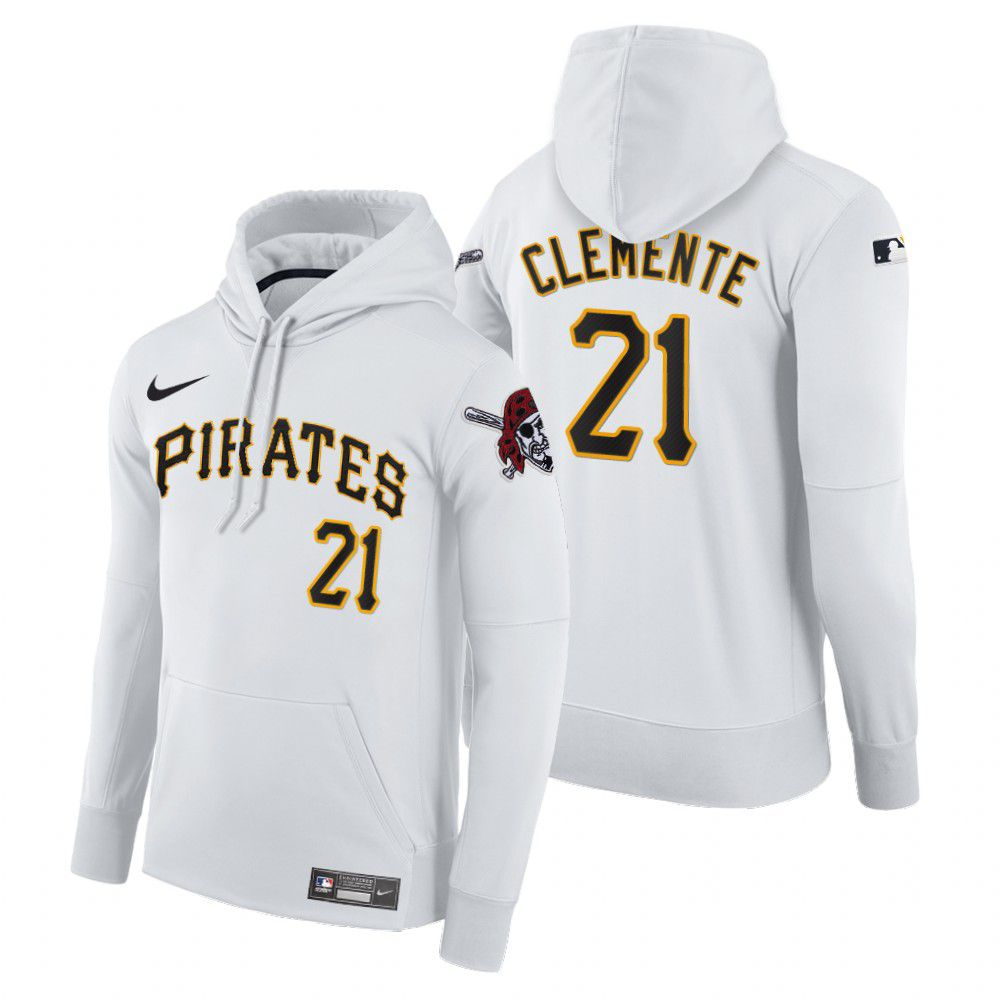 Cheap Men Pittsburgh Pirates 21 Clemente white home hoodie 2021 MLB Nike Jerseys