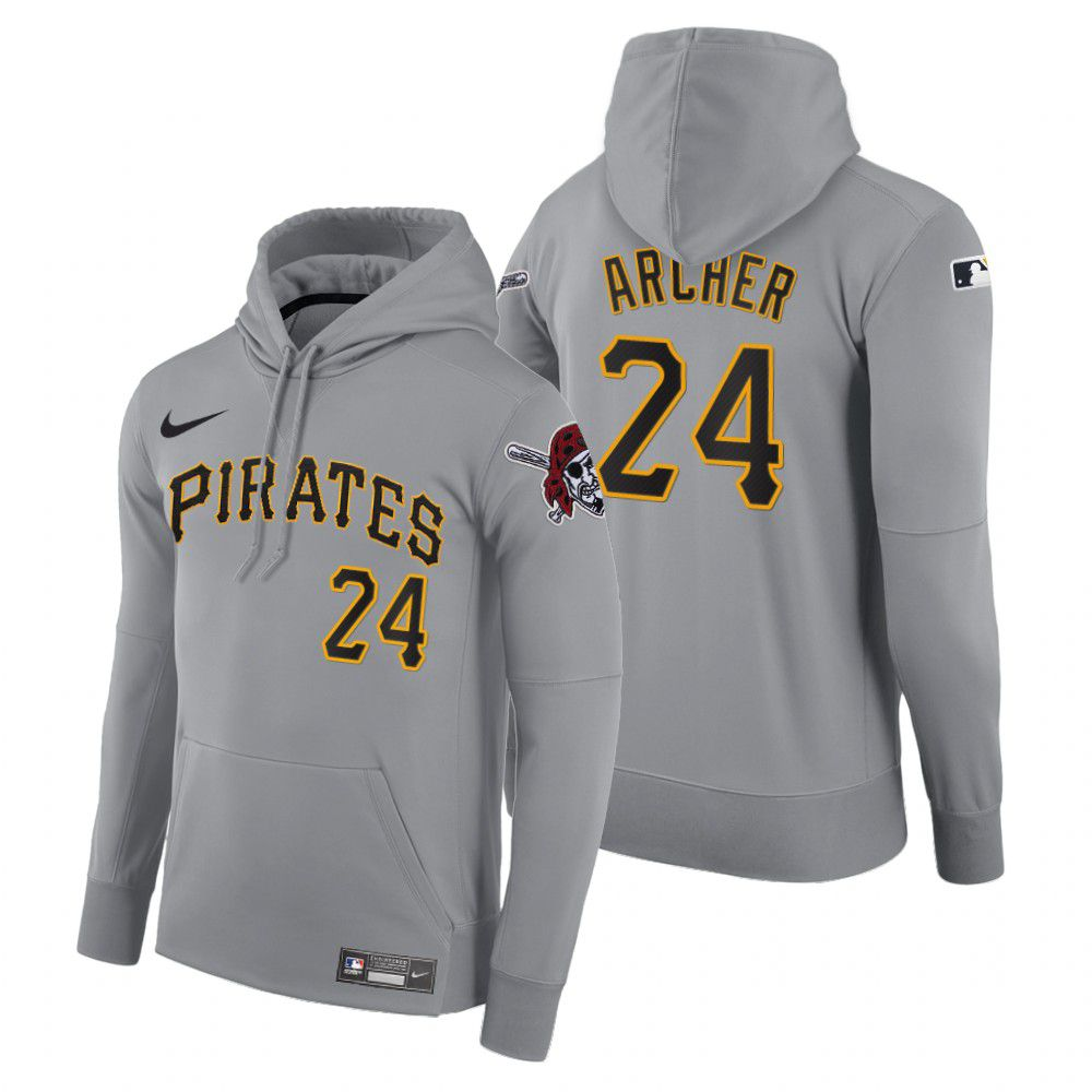 Cheap Men Pittsburgh Pirates 24 Archer gray road hoodie 2021 MLB Nike Jerseys