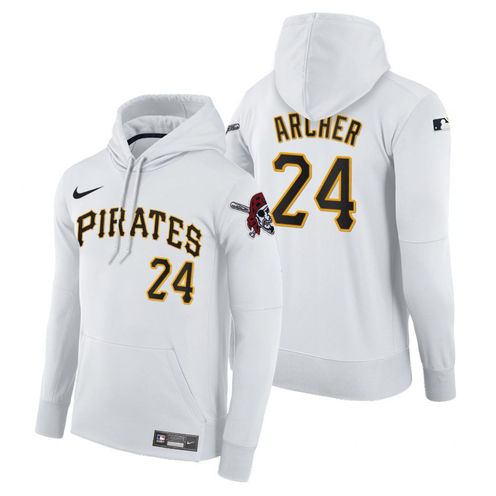 Cheap Men Pittsburgh Pirates 24 Archer white home hoodie 2021 MLB Nike Jerseys