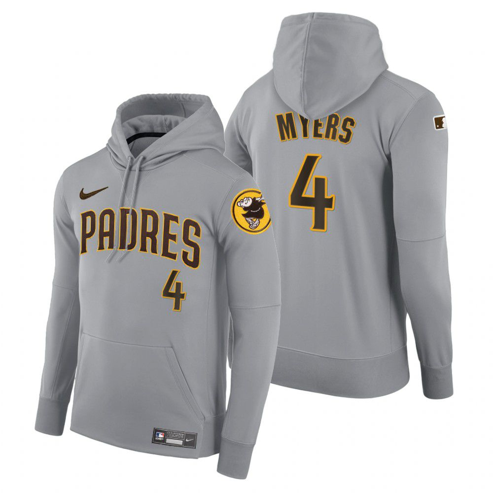 Cheap Men Pittsburgh Pirates 4 Myers gray road hoodie 2021 MLB Nike Jerseys