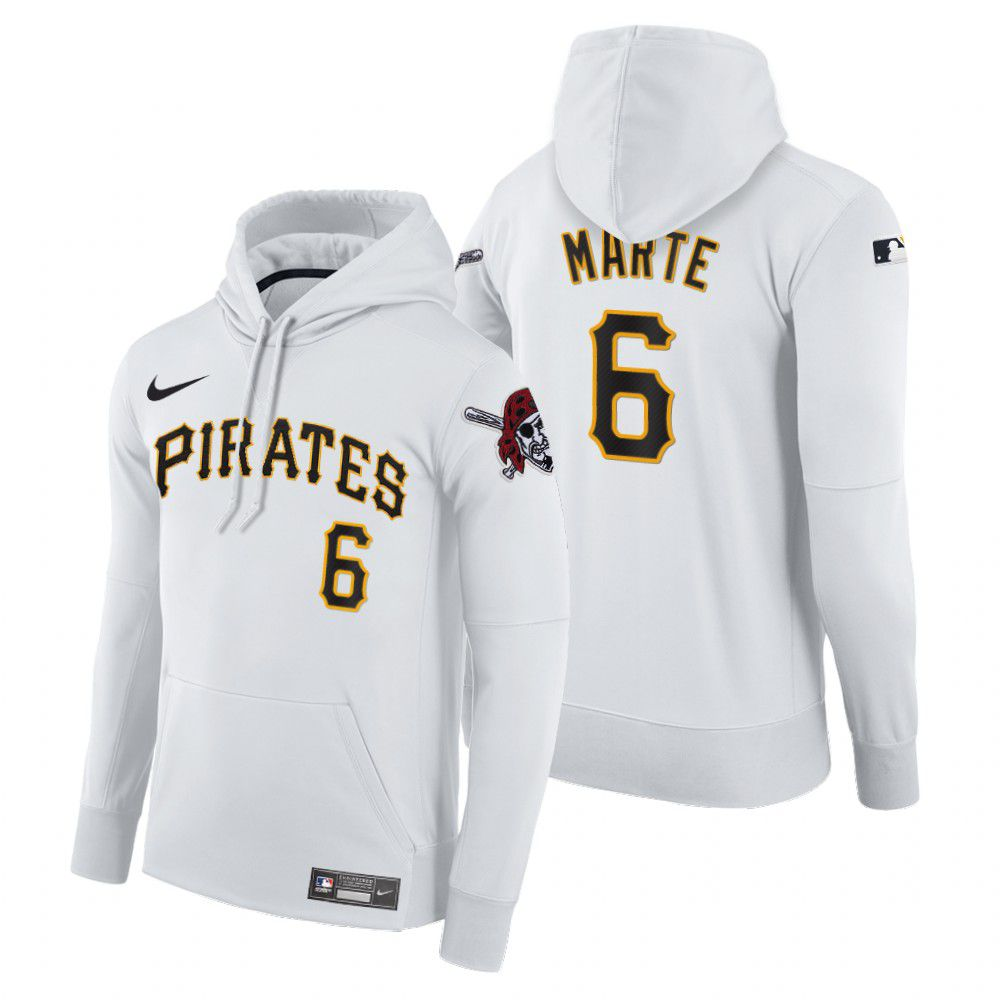 Cheap Men Pittsburgh Pirates 6 Marte white home hoodie 2021 MLB Nike Jerseys