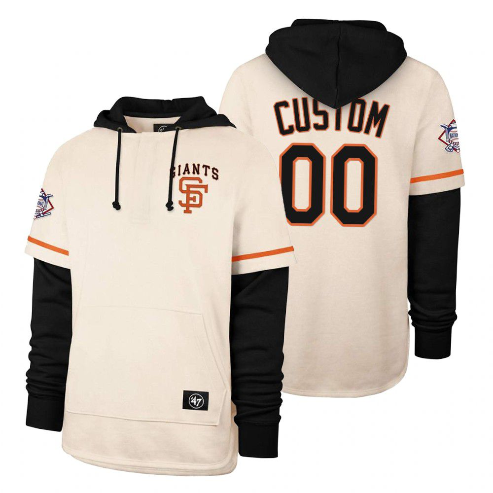 Cheap Men San Francisco Giants 00 Custom Cream 2021 Pullover Hoodie MLB Jersey