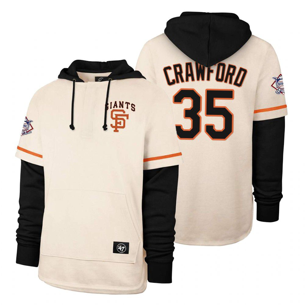 Cheap Men San Francisco Giants 35 Crawford Cream 2021 Pullover Hoodie MLB Jersey
