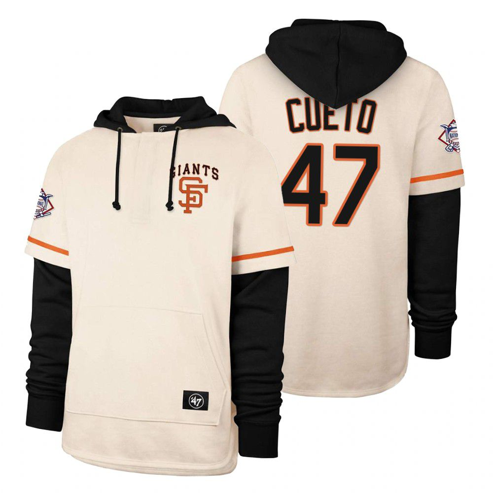 Cheap Men San Francisco Giants 47 Cueto Cream 2021 Pullover Hoodie MLB Jersey