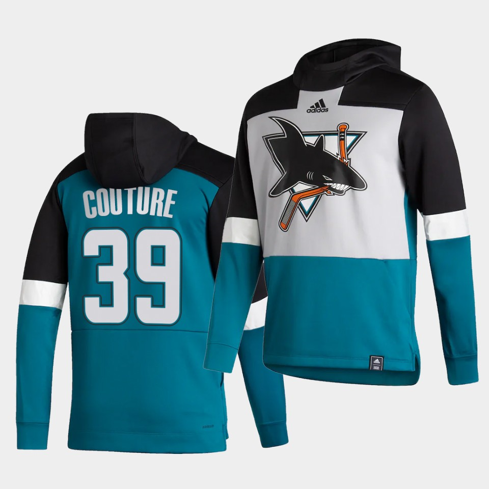 Cheap Men San Jose Sharks 39 Couture Blue NHL 2021 Adidas Pullover Hoodie Jersey