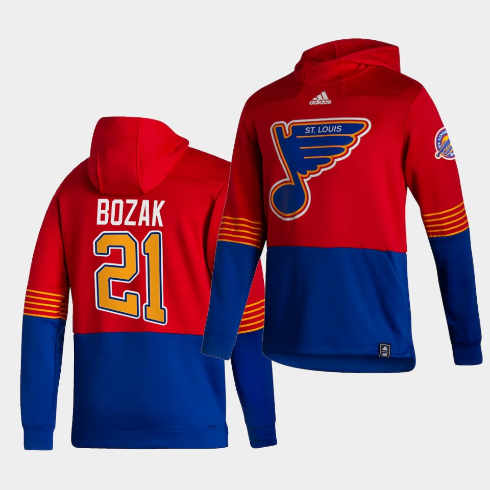 Wholesale Men St.Louis Blues 21 Bozak Red NHL 2021 Adidas Pullover Hoodie Jersey
