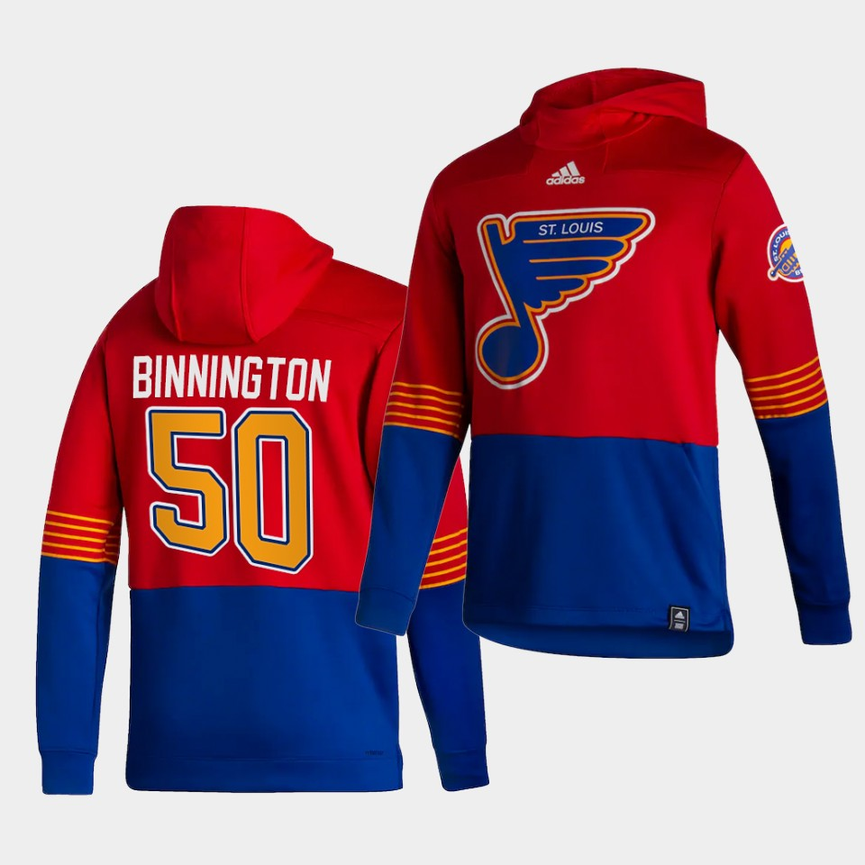 Wholesale Men St.Louis Blues 50 Binnington Red NHL 2021 Adidas Pullover Hoodie Jersey